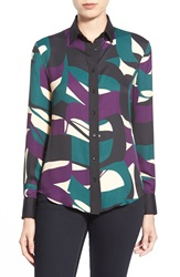 Anne Klein 'Palisades' Print Long Sleeve Blouse Manet Green Combo