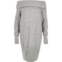 River Island Womens Grey Slouchy Knitted Bardot Dress