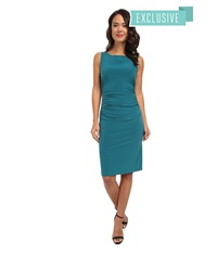 Kamalikulture By Norma Kamali Sleeveless Shirred Waist Dress Teal Women's Dress Blue