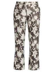 Osman Yasmin Floral And Bug Brocade Cropped Trousers Grey Multi