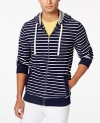Club Room Men's Striped Zip Front Hoodie Only At Macy's Navy Blue