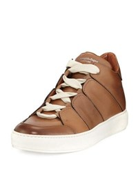 Ermenegildo Zegna Tiziano Runway Leather High Top Sneaker Camel