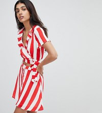 Glamorous Tall Crop Top With Frill Collar And Tie Side In Stripe Co Ord Red White Stripe