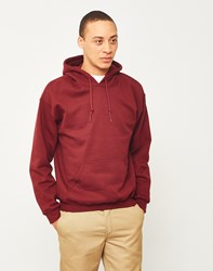 The Idle Man Classic Overhead Hoodie Burgundy