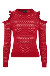 Topshop Tall Pointelle Cold Shoulder Knitted Jumper Red