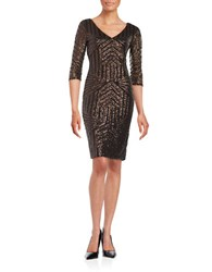 Vera Wang Sequined Sheath Dress Copper