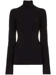 Ellery 'Art Brut' High Neck Ribbed Top Black