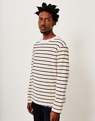 Armor Lux Striped Towelling Sweater Off White And Blue
