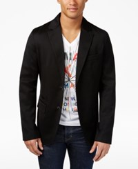 Armani Exchange Men's Two Button Blazer Solid Black