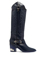 Toga Leather Knee High Boots Navy