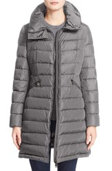 Moncler Women's 'Flammette' Water Resistant Long Hooded Down Coat Charcoal