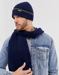 Barbour Scarf And Beanie Gift Set In Navy