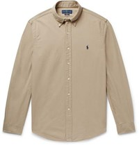 Polo Ralph Lauren Slim Fit Button Down Collar Garment Dyed Cotton Oxford Shirt Brown