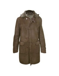 Forzieri Detachable Hood Men's Dark Brown Shearling Coat