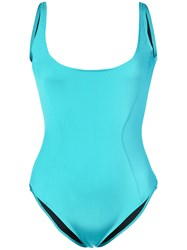 Fleur Du Mal Scoop Neck Swimsuit Blue