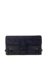 Tomas Maier Side Buckle Leather And Suede Clutch
