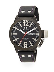 Tw Steel Ceo Canteen Dark Grey Stainless Steel Leather Strap Watch Black