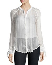 Romeo And Juliet Couture Metallic Stripe Tie Cuff Chiffon Shirt Ivory