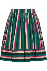 Etro Striped Embroidered Poplin Skirt Green