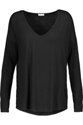 Splendid Stretch Jersey Paneled Voile Top Black
