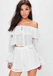 Missguided Petite Exclusive White Embroidered Shorts