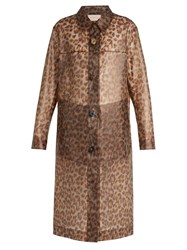 Christopher Kane Leopard Print Frosted Rubberised Coat Brown Print