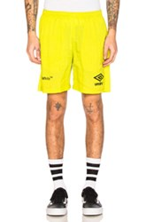 Off White X Umbro Ripstop Shorts In Green Neon Green Neon
