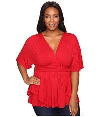 Kiyonna Afternoon On The Promenade Top Ruby Rendezvous Women's Blouse Red