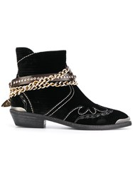 Fausto Zenga Embellished Cowboy Boots Leather Velvet Metal Rubber 37.5 Black
