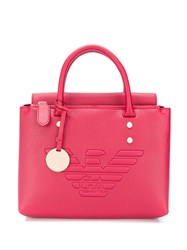 Emporio Armani Embossed Logo Tote Red