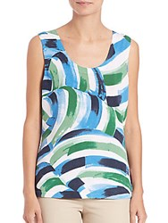 Lafayette 148 New York Printed Knit Shell Verde Multicolor