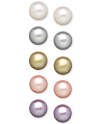 Honora Style Pastel Cultured Freshwater Pearl Earring Set In Sterling Silver 8Mm