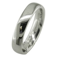Ewa 18Ct White Gold 4Mm Larger Sized Court Wedding Ring White Gold