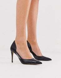 Aldo Pointed Court Shoes In Snake Mix Black