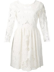Sea Embroidered Cut Out Dress White