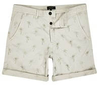 River Island Mens Beige Palm Tree Print Turn Up Shorts