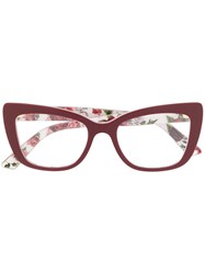 Dolce And Gabbana Eyewear Rose Print Glasses Red