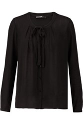 7 For All Mankind Bow Embellished Crepe Blouse Black