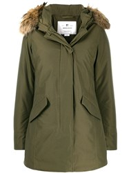Woolrich Padded Hooded Coat Green