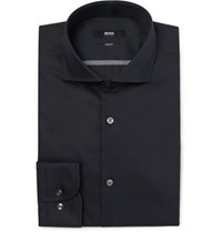 Hugo Boss Blue Jerrin Slim Fit Cutaway Collar Cotton Poplin Shirt Midnight Blue