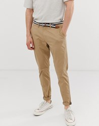 Pull And Bear Slim Fit Chino In Tan Tan
