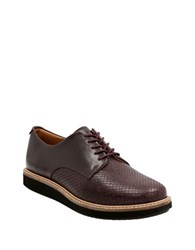 Clarks Glick Darby Embossed Leather Oxfords Aubergine