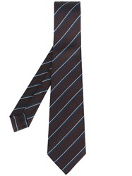 Kiton Striped Tie Brown