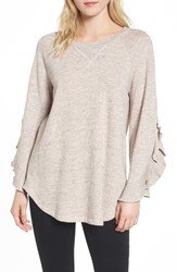 Ella Moss Ruffle Split Sleeve Cotton Sweatshirt Blush