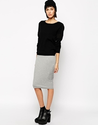 Eleven Paris Filomen Pencil Skirt In Jersey With Ribbing Detail Grey