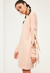 Missguided Nude Bow Sleeve Jumper Dress Pink