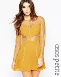 Asos Petite Mini Lace Skater With Cut Outs Yellow