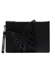 Sophia Webster Black Flossy Butterfly Leather Clutch Bag