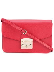 Furla Metropolis Saffiano Crossbody Bag Women Calf Leather Leather Suede One Size Red
