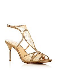 Imagine Vince Camuto Pember Metallic Mesh High Heel Sandals Gold